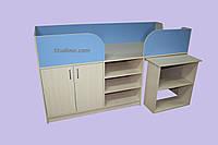 """Ліжко трансформер дитячий """"Кузя 2"""" дуб молочний +капрі блакитний, фото 1"""