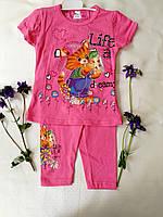 Летний розовый костюм футболка и капри с котенком (Турция)