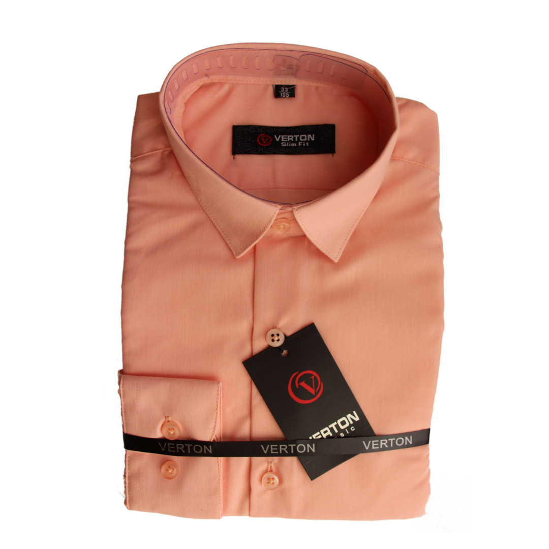 Рубашка для мальчика 134 рост с длинным рукавом приталенная персиковая