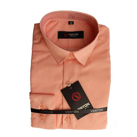 Рубашка для мальчика 134 рост с длинным рукавом приталенная персиковая, фото 2