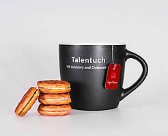 Вот такие чашки получились для наших новых друзей. Фирмы Talentuch. Чашки матовые, стильные. Внутренняя часть может быть разных цветов. Нанесение - деколь.