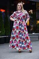 Модное женское платье в цветочный принт длинное больших размеров
