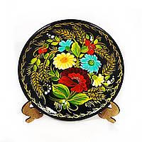 Тарелка Цветочная радуга М-21– Петриковская роспись (дерево)