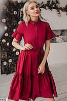 Нарядное платье миди юбка пышная с воланами с поясом короткий рукав марсала