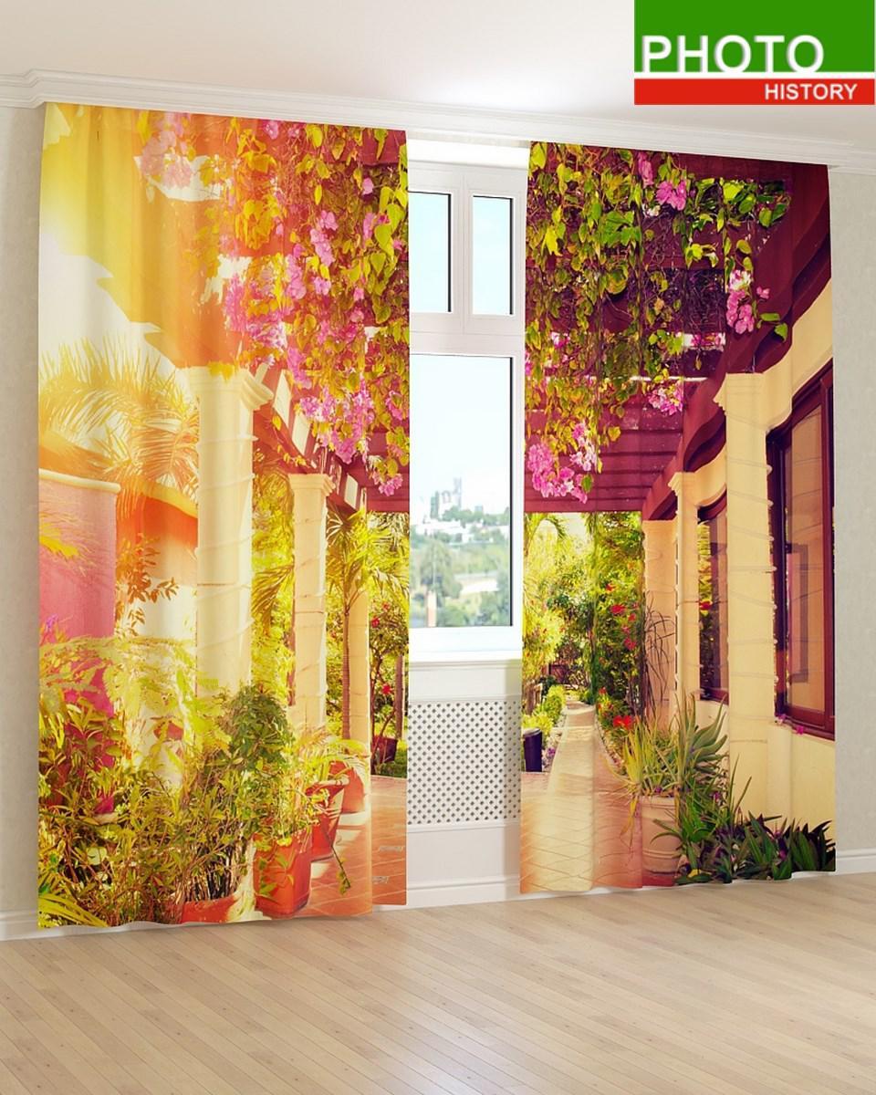 Фотошторы цветочная терраса