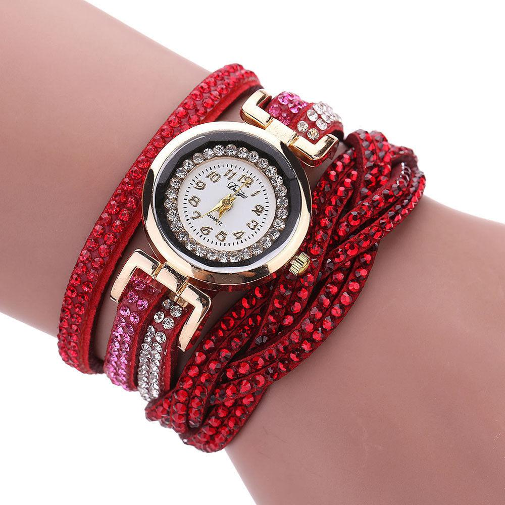 Часы браслет Duoya красные в стразах