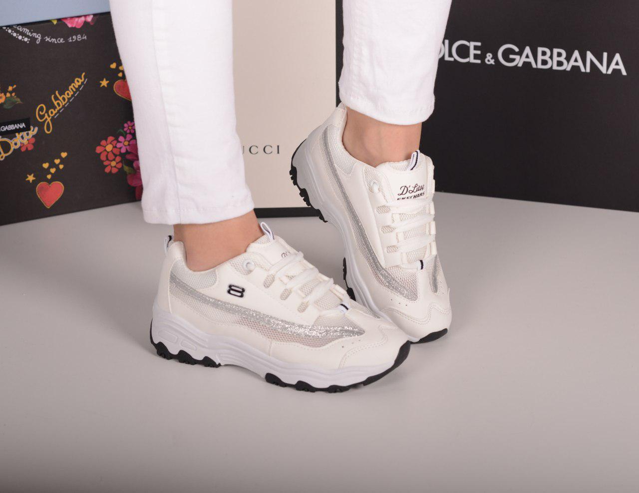 Кроссовки с сеткой белые с серебром
