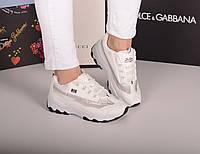 Кроссовки с сеткой белые с серебром, фото 1