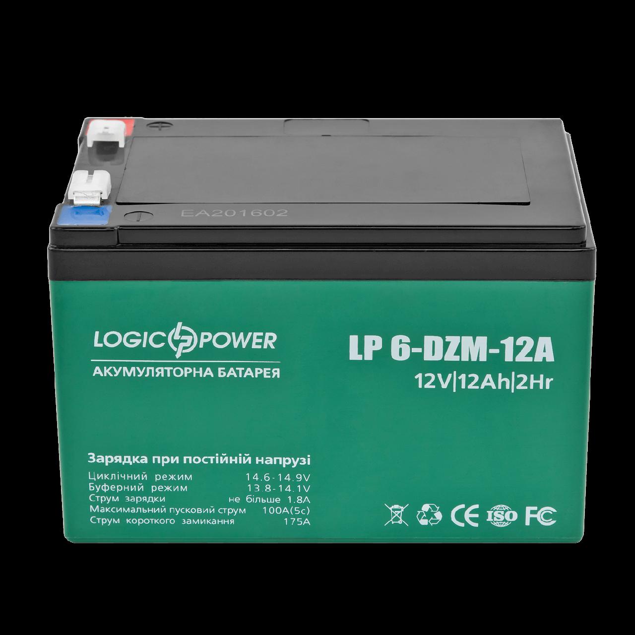 Акумулятор тяговий свинцево-кислотний AGM LogicPower LP 6-DZM-12