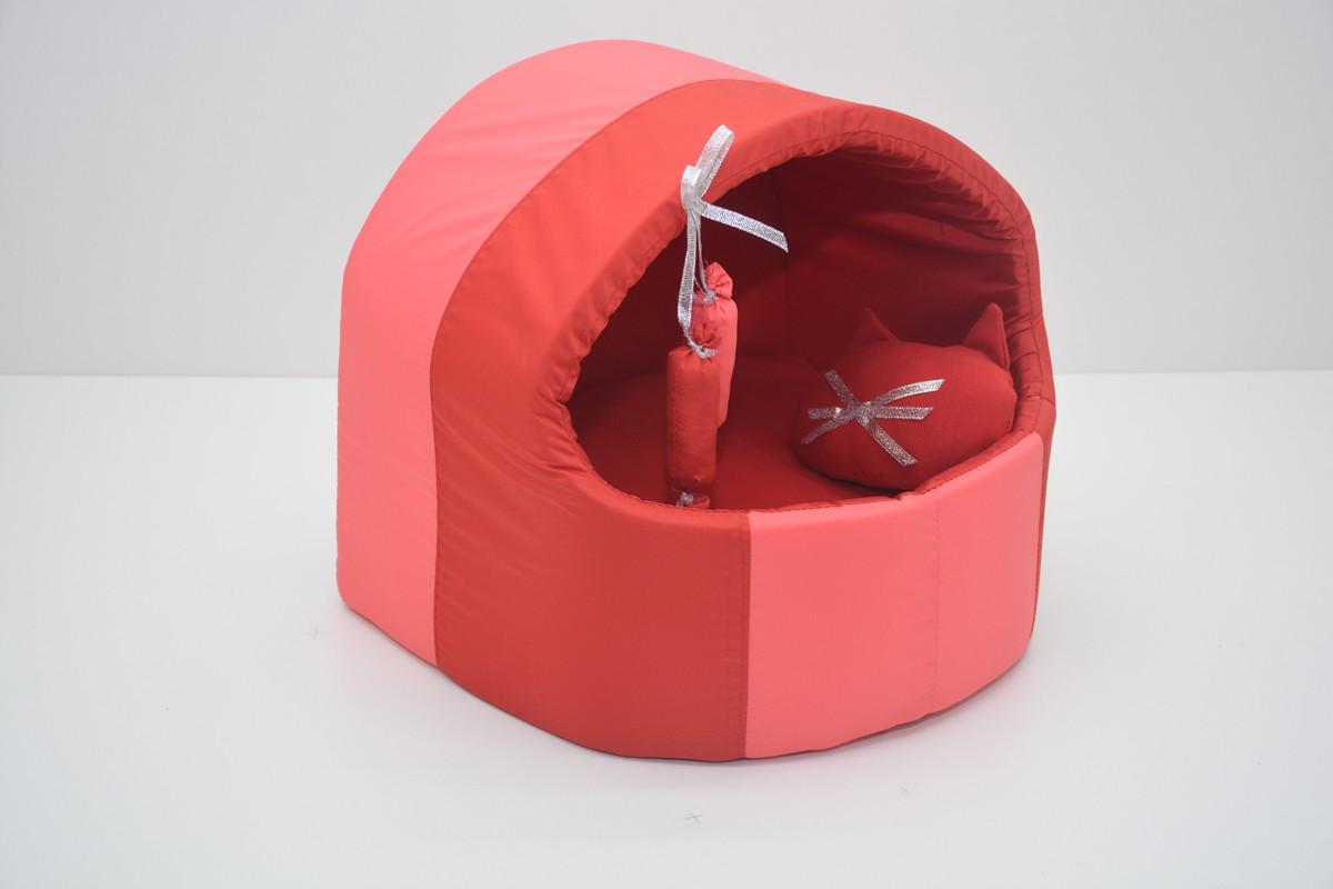 Будка для котів і собак Комфорт літо №1 360х320х320 червона