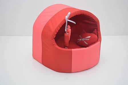 Будка для котів і собак Комфорт літо №1 360х320х320 червона, фото 2