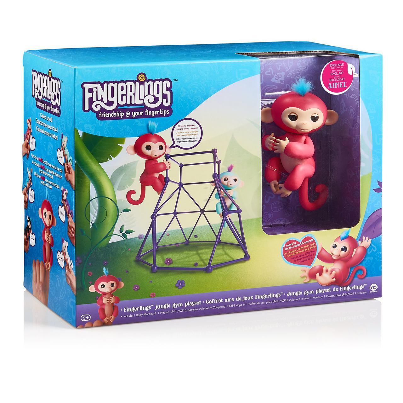Ручная обезьянка WowWee Fingerlings Эйми на игровой площадке Фингерлингс