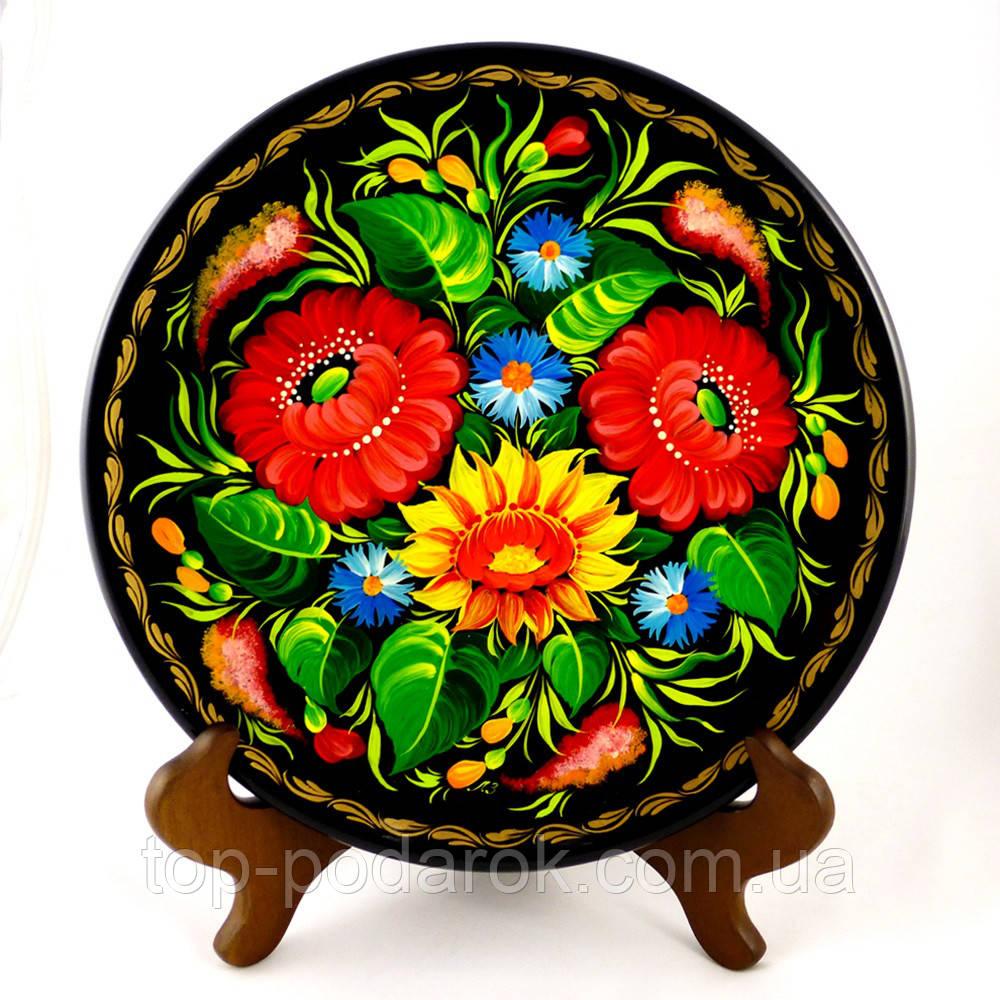 Тарелка Цветы М-19– Петриковская роспись (дерево)