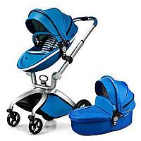 Оригинальная детская коляска 2в1 Hot Mom Синяя эко-кожа Прогулочная и люлька