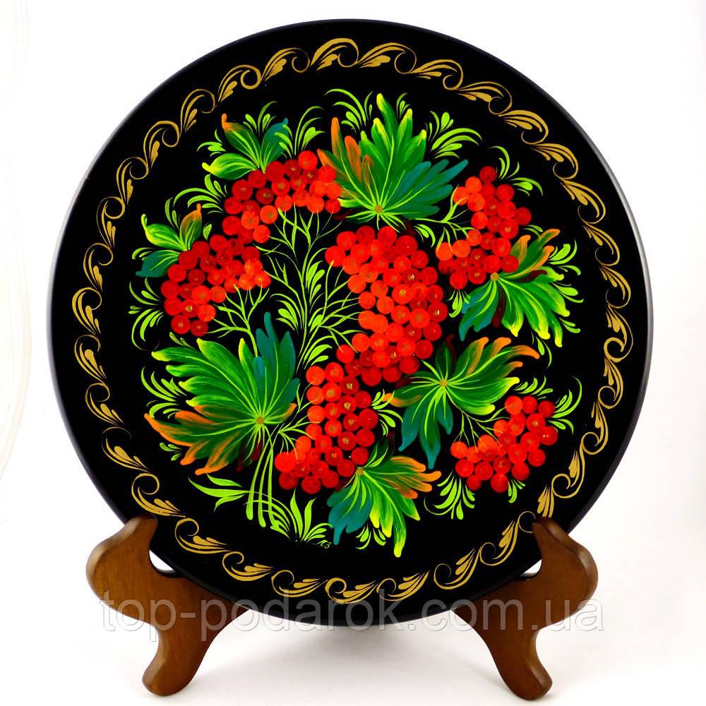 Тарелка Цветы М-18 – Петриковская роспись (дерево)