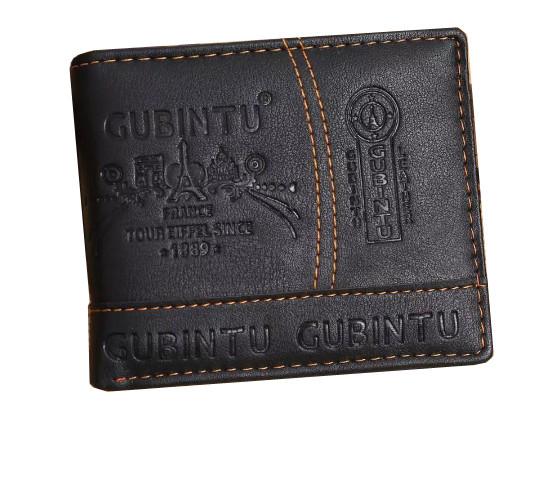 Мужской кошелек GUBINTU Fashion кожаный портмоне Short Черный (SUN0586)