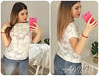 Женская летняя кофточка, ткань: стрейч+гипюр с шелковой нитью (50-52 р-р) 77П4307