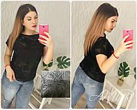 Женская черная кофточка, БАТАЛ ткань: стрейч+гипюр с шелковой нитью (50-52 р-р) 77П4307_3