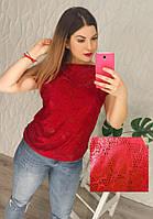 Женская красная кофточка, ткань: стрейч+гипюр с шелковой нитью (42-48 р-р) 77П4307_4