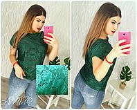 Женская зеленая кофточка, ткань: стрейч+гипюр с шелковой нитью (42-48 р-р) 77П4307_1