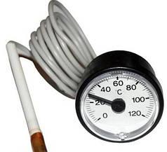 Термометр круглый SVT 52 P, 0-120°C, с выносным датчиком 1м, LT144 (Польша)