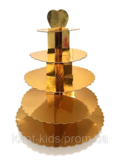 Подставка для кексов/десертов 5-ти ярусная золотая