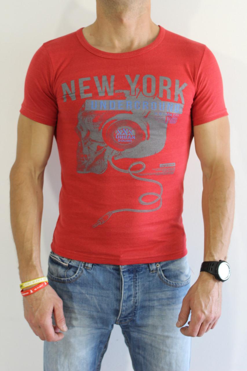 cfdef3892f6d1 Футболка мужская NEW YORK красная - купить по низкой цене. Код:674822223