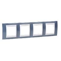 Рамка 4-местная Голубой Unica Schneider лёд/Белый, MGU6.008.854