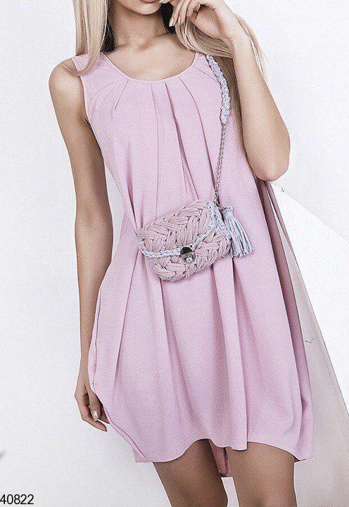 Летнее платье мини свободное на спине вырез креп пудра