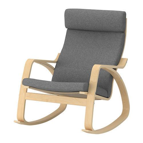 кресло качалка Ikea Poäng березовый шпон Lysed серый 292 444 13 продажа цена в киеве кресла качалки от Dom Online маркет товаров для дома и