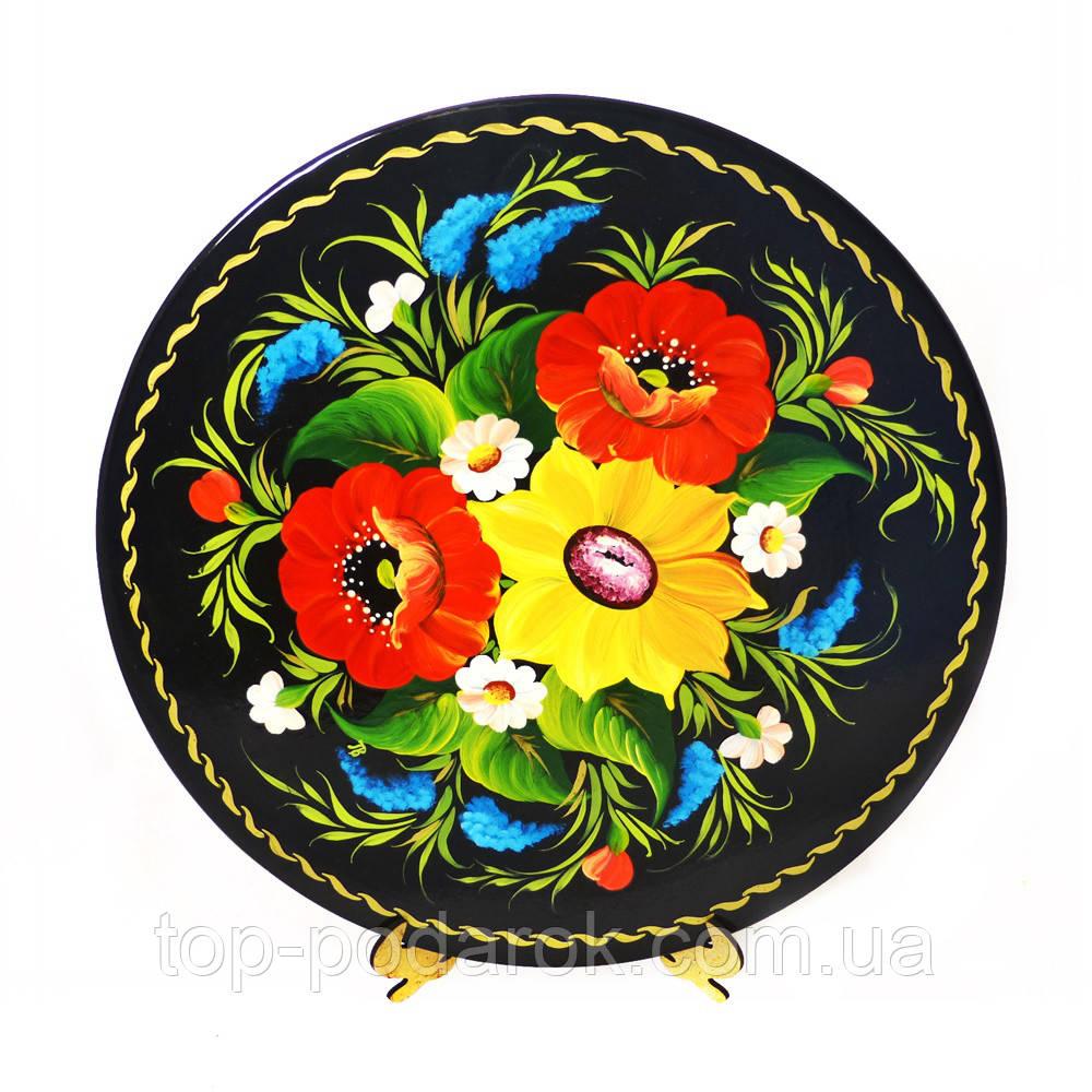 Тарель Цветочное М-20– Петриковская роспись (дерево)