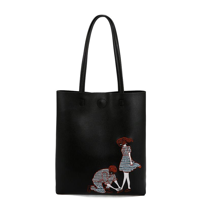 3f510e71f501 Черная женская сумка шоппер с вышивкой - Интернет-магазин