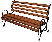 """Лавка садово парковая с подлокотником """"Запад"""" с металлическими ножками №1"""