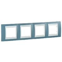 Рамка 4-местная Unica Schneider Синий/Белый, MGU6.008.873