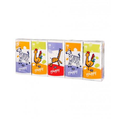 Бумажные носовые платочки Bella Baby Happy, трёхслойные 10 шт. в пачке, продажа упаковкой по 10пачек