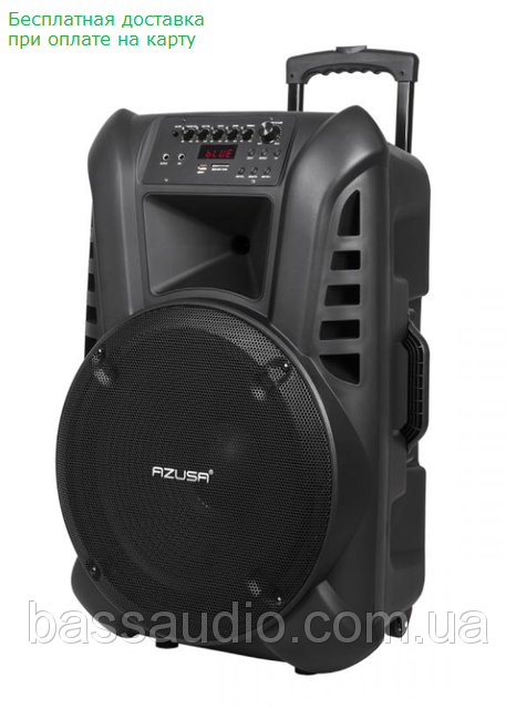 """Аккумуляторная колонка 15"""" с усилителем AZUSA (с 2-мя бесп.микрофонами, SD, Bluetooth, USB) Лучшая !"""
