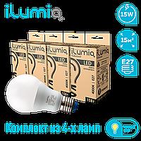 Комплект светодиодных ламп 4 шт 15 Вт Е27 3000К (теплый белый) 1500Лм (002) Ilumia