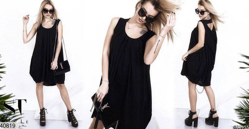 Летнее платье выше колен свободного кроя креп черное, фото 2