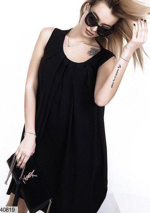 Летнее платье выше колен свободного кроя креп черное