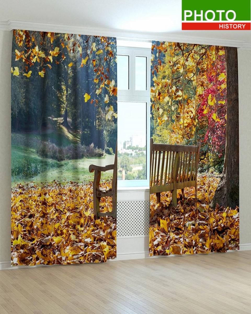 Фотошторы лавочка под падающими желтыми листьями