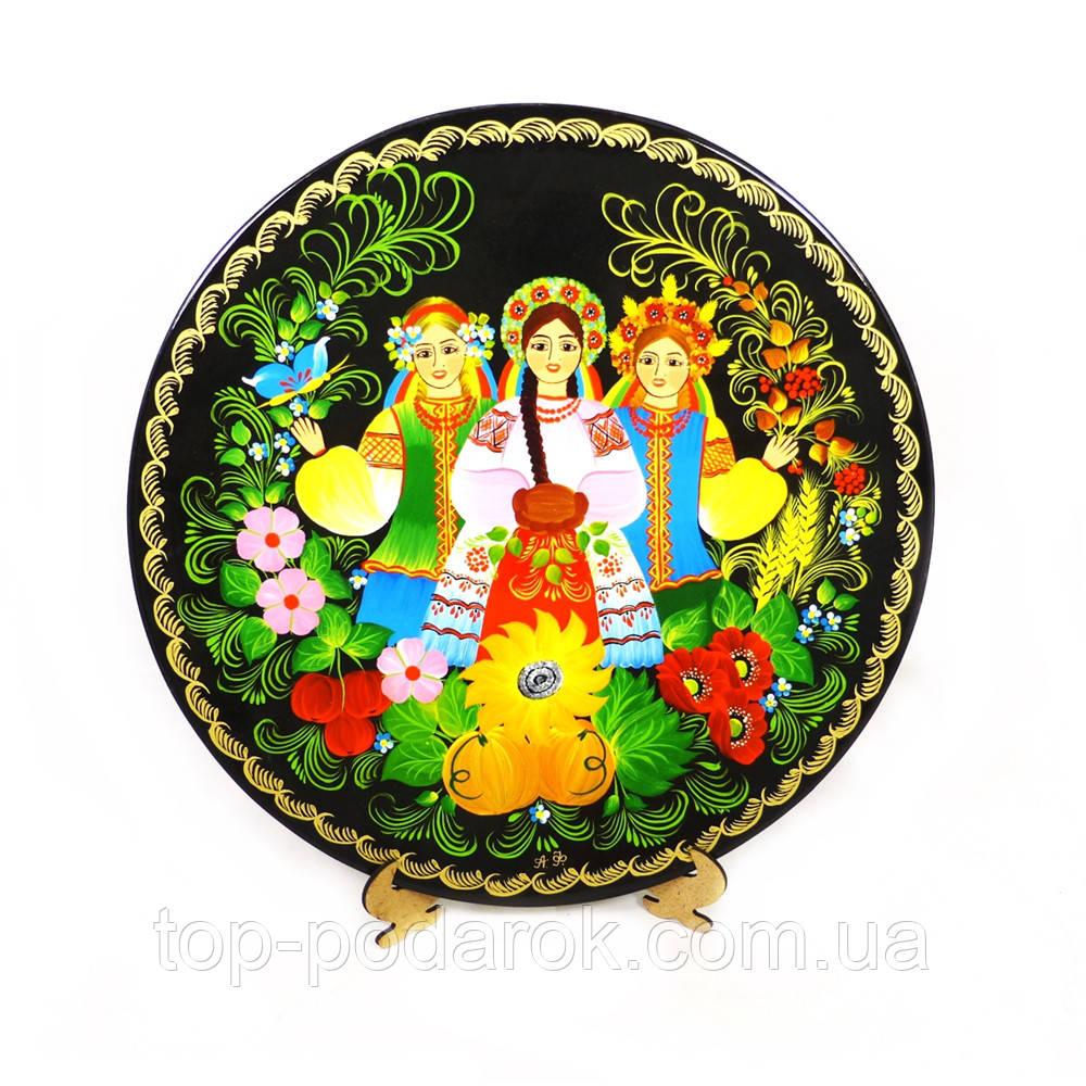 Тарель Праздник урожая М-2– Петриковская роспись (дерево)