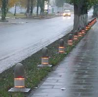 Столбик парковочный лайт овал ( цвет серый) с подсветкой (красная, белая)