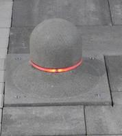 Столбик лайт круг мини (цвет серый) с подсветкой (красная, белая)