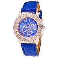 Часы Geneva в стразах синие