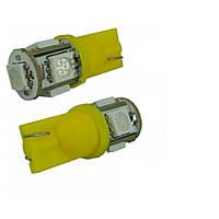 Led лампы в габарит подсветка номера Желтый цвет W5W, Т10 5Leds 5050SMD, 12V .