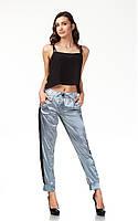 Женские брюки с манжетами оптом. Модель БР29_серый атлас, фото 1