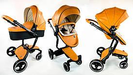 Детская коляска Foofoo Vinng  2в1 Коричневая экокожа