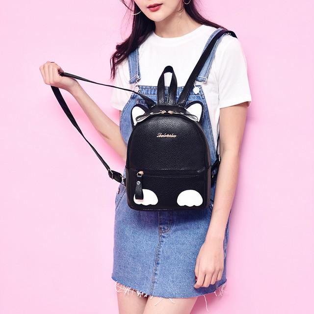 мини рюкзак с ушками черный