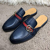 Gucci Princetown Leather Slipper with Double G Blue, фото 1