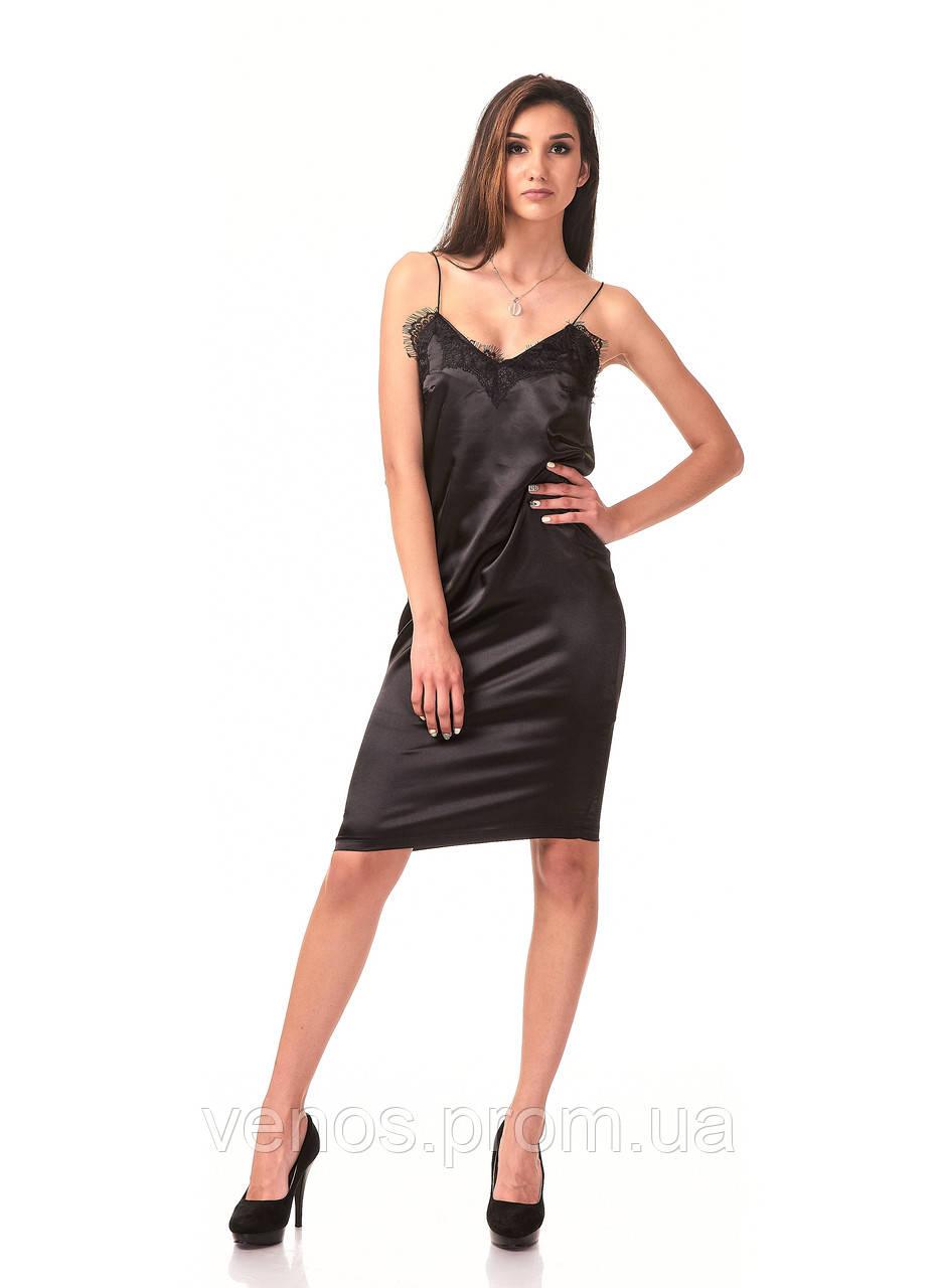 Женское платье с кружевом в бельевом стиле. П098